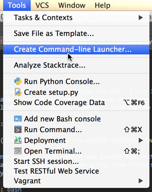 Creating PyCharm command line launcher