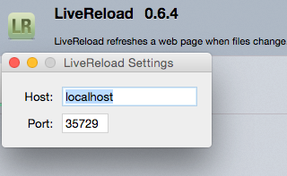 Livereload plugin preferences on FireFox
